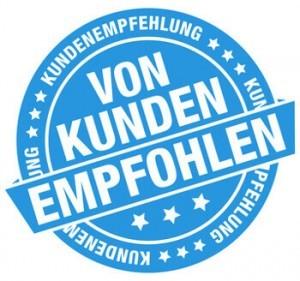 Blau-Weißes Logo mit Kundenempfehlungen zu den 10 beliebtesten Kompressoren der Besucher von kompressorcheck.de