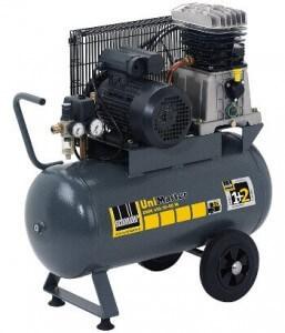 Der universelle Schneider Kompressor UNM 410-10-50 W im gau gelben Design.