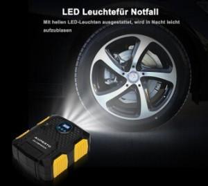 Auperto Luftkompressor mit eingeschlateter LED-Leuchte.