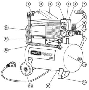 Prebena Vigon 240 mit Nummerrierung aller Bauteile.