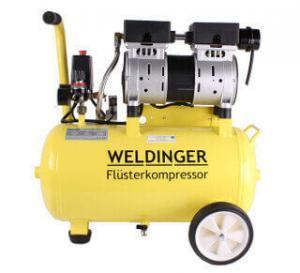 Weldinger Flüsterkompressor FK 95 Pro in gelber Farbe.